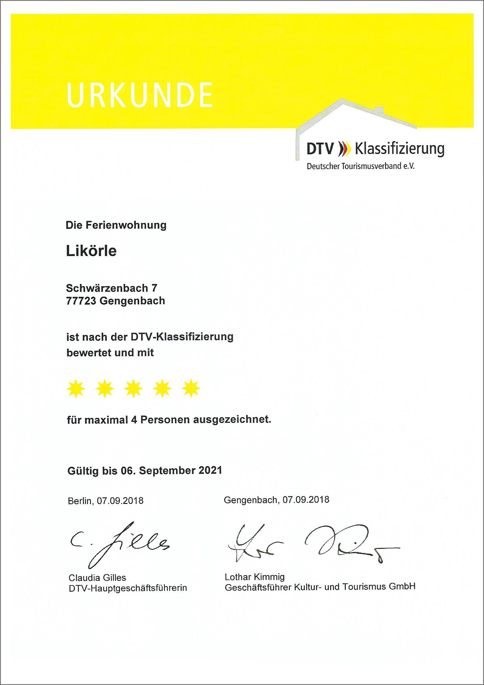 Ferienwohnung Likörle nach der DTV Klassifizierung mit 5 Sternen ausgezeichnet