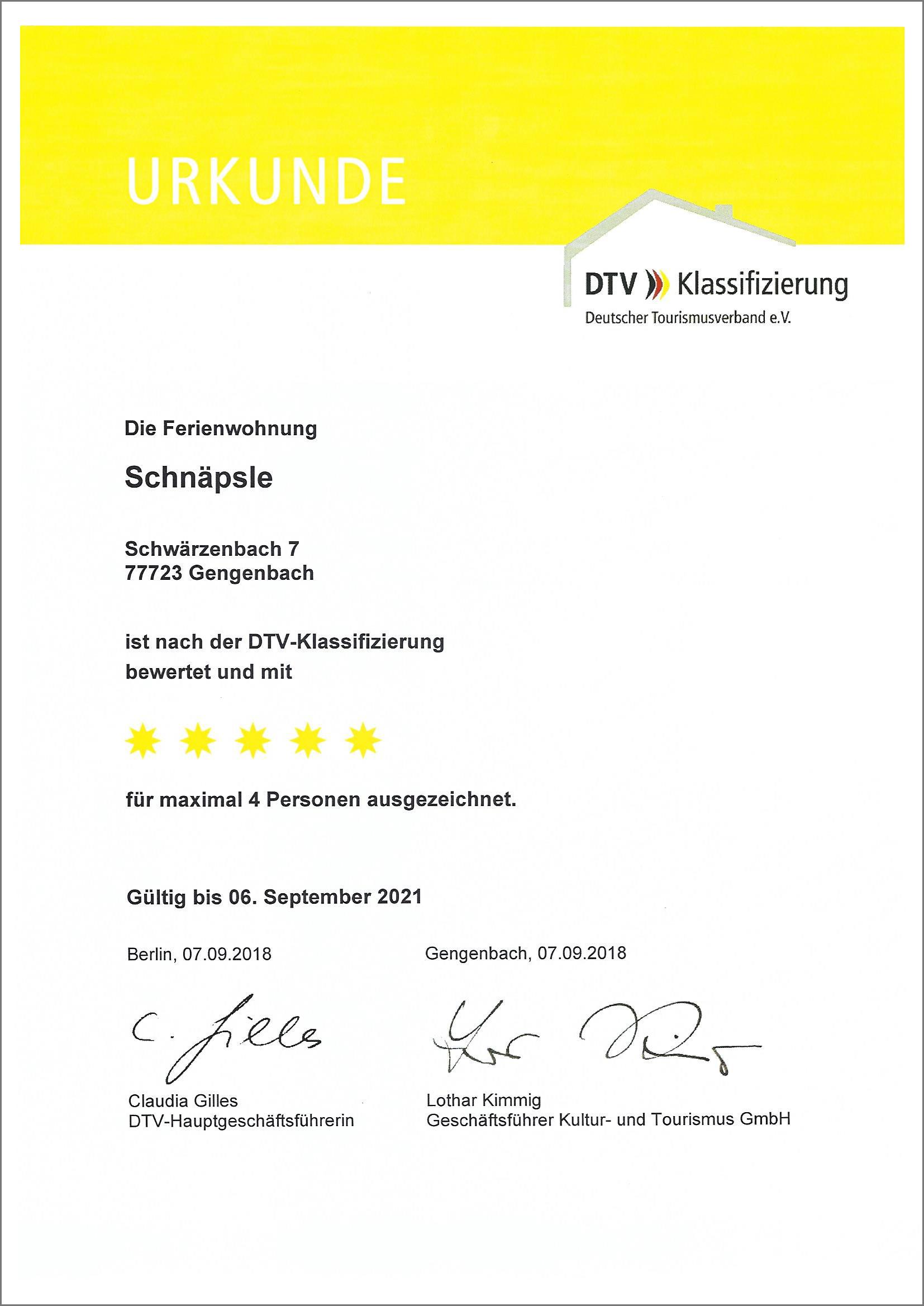 Ferienwohnung Schnäpsle nach der DTV Klassifizierung mit 5 Sternen ausgezeichnet