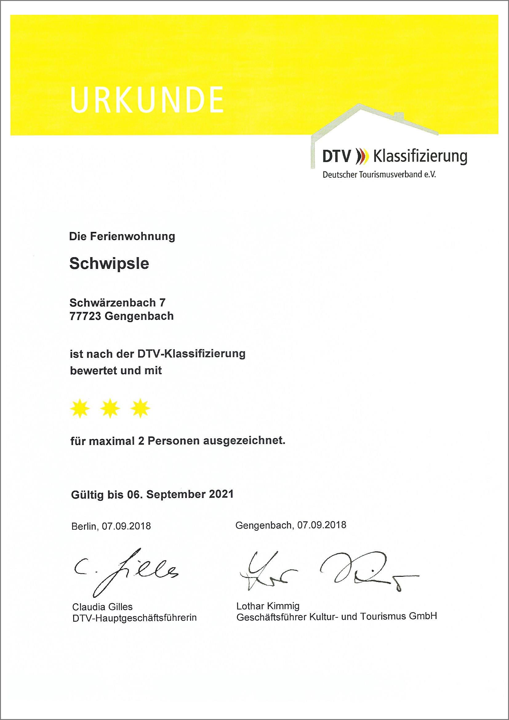 Ferienwohnung Schwipsle nach der DTV Klassifizierung mit 3 Sternen ausgezeichnet